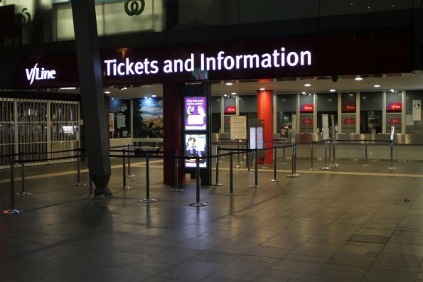 Early morning at Southern Cross Station and the V/Line ticket office is closed