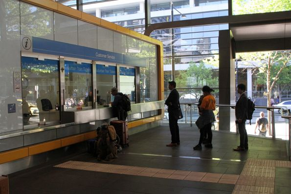 Line at the Metro Trains ticket office on the Collins Street concourse