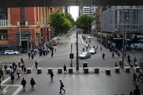Looking down Bourke Street from the bridge at Southern Cross Station