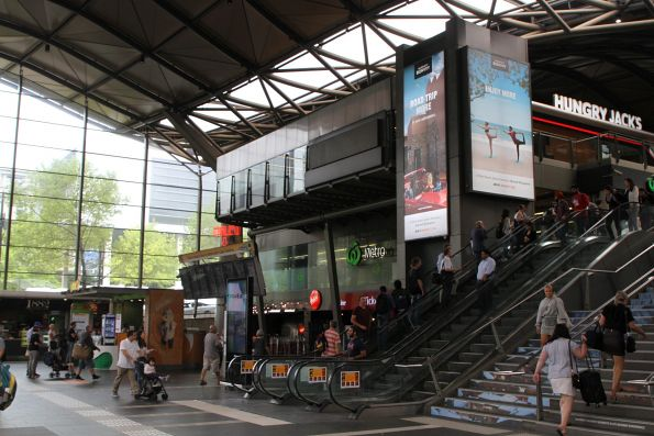 Advertising covers the main concourse at Southern Cross Station