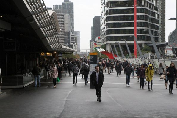 Looking west down the Bourke Street Bridge