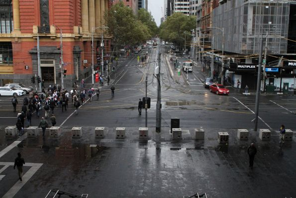 Looking down on Spencer Street from the Bourke Street Bridge