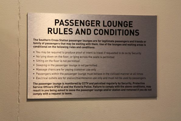 Rules and conditions for the Southern Cross Station waiting room