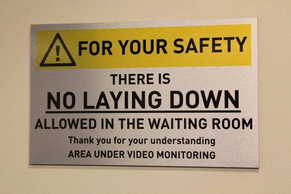 'No laying down' is the main rule for the Southern Cross Station waiting room