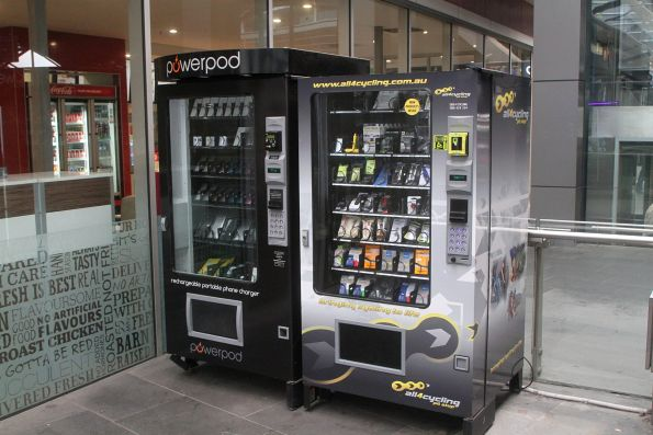 Mobile phone charger and cycling supplies vending machines at Southern Cross Station