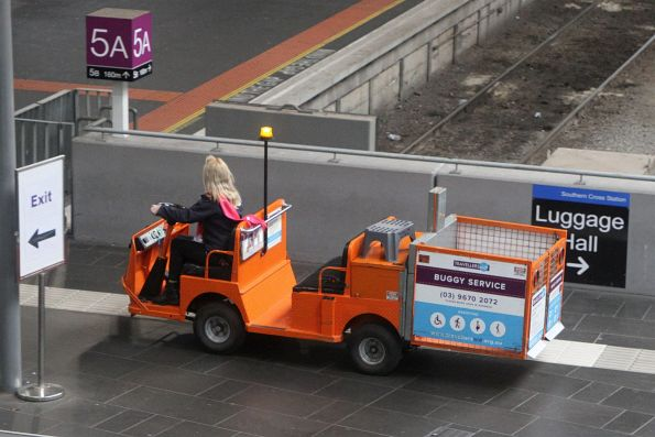 Travellers Aid buggy on the concourse at Southern Cross Station