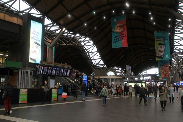 Deliveroo advertising covers Southern Cross Station