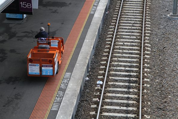 Travellers Aid buggy at platform 15