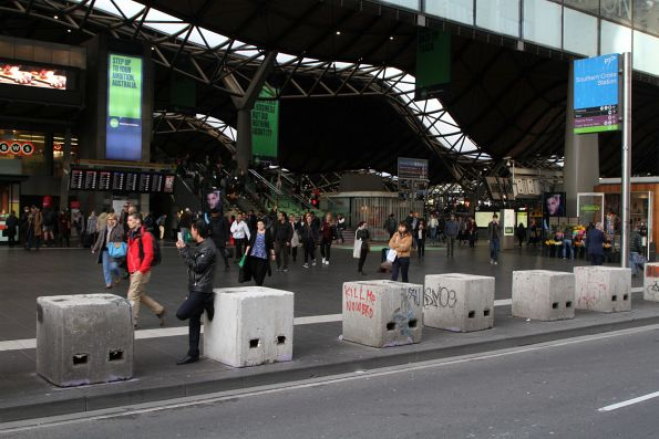 Concrete anti-terrorist bollards still in place at Southern Cross Station