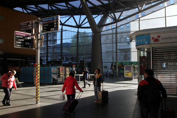 Morning sun streams into Southern Cross Station