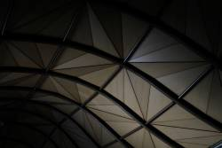 Morning sun lights up the ceiling of Southern Cross Station