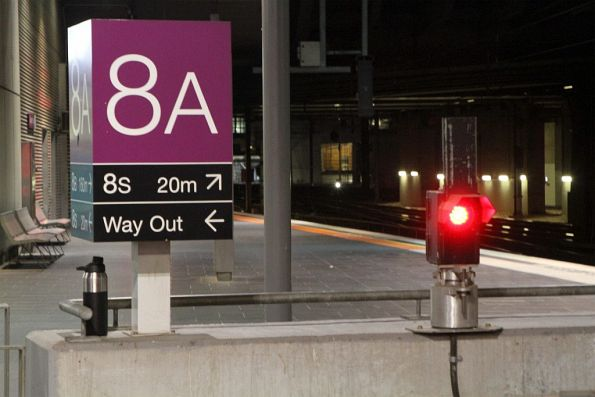 Buffer light in use at the end of Southern Cross platform 8