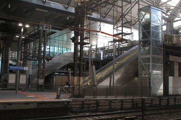 2000s-era lifts and escalators at the Bourke Street end of the Southern Cross Station suburban platforms