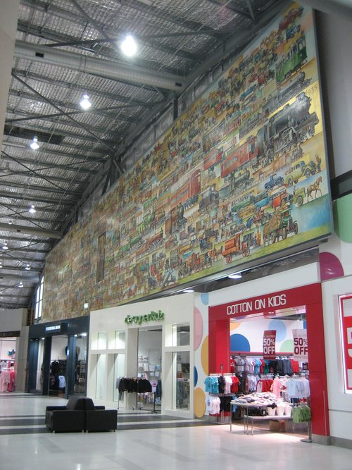'Cavalcade of Transport' mural now relocated to the shopping centre