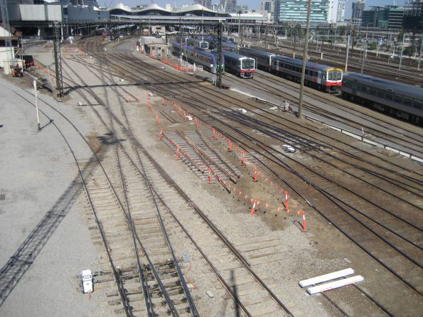 Track rearrangement at the down end of Southern Cross