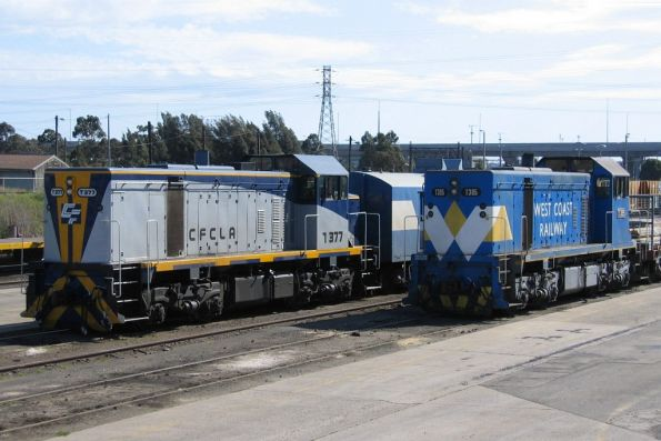 Ex-WCR T385 with a Southern Cross works train, stabled beside T377 at the Creek Sidings