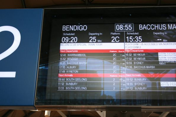 'Kelvin Club special train tour' to Bendigo displayed on the next train display