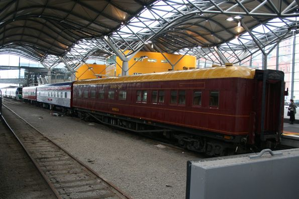 N452 with BZN271, Club Car Victoria, and Avoca dining car on a Kelvin Club chartered train to Bendigo