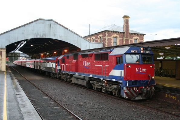 N473 on a down Warrnambool Cup special with club car 'Victoria' and power van PCO2 in the consist, at Geelong