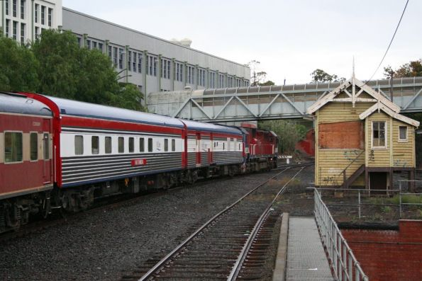 N473 on a down Warrnambool Cup special with club car 'Victoria' and power van PCO2 in the consist, depart Geelong