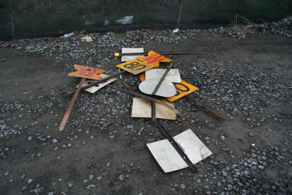 Pile of various speed restriction signs