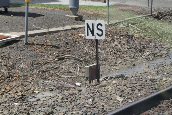 'NS' normal speed board near Croxton station