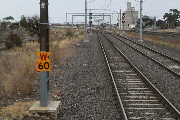 Warning of a 60 km/h speed restriction on the up suburban track at Sunshine