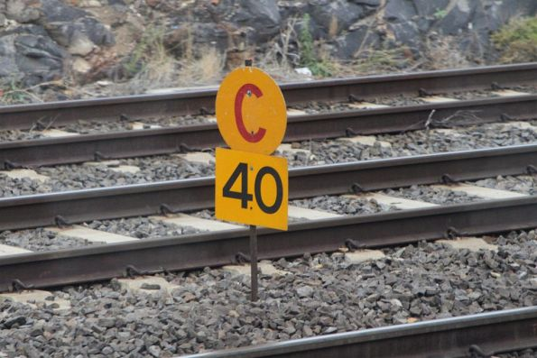 Caution board for a 40 km/h speed restriction on the down RRL track at Footscray