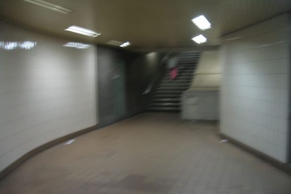 MMBW House exit to Collins Street from the subway under Spencer Street