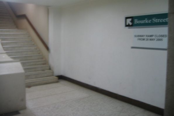 Savoy Hotel exit to Bourke Street from the subway under Spencer Street