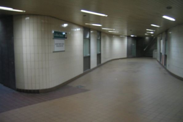 Subway under Spencer Street, exit to Little Collins Street to the left, exit to MMBW House ahead
