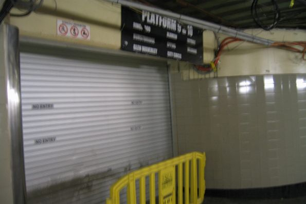 Access to platforms 9 and 10 no longer possible from the suburban subway