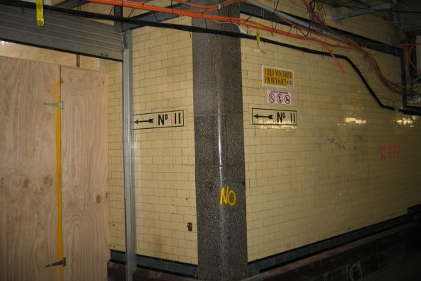 Tiled walls in the suburban subway below platforms 11 and 12