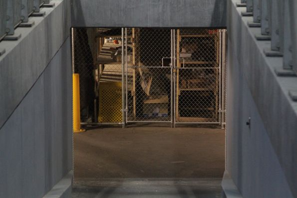 Storage cages in the former pedestrian subway beneath Southern Cross Station