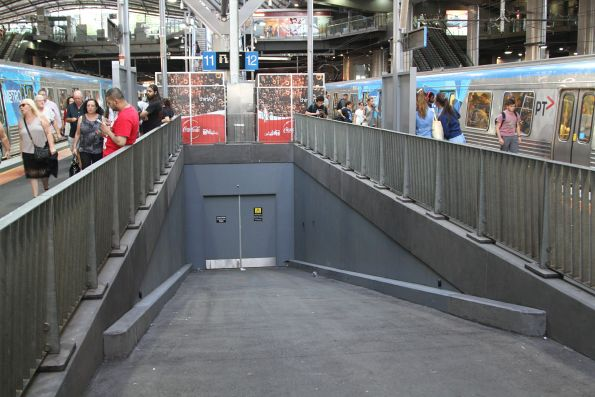 Ramp down to the former pedestrian subway at Southern Cross Station