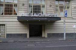 Former entrance to the Spencer Street subway from the Savoy Hotel, now boarded up