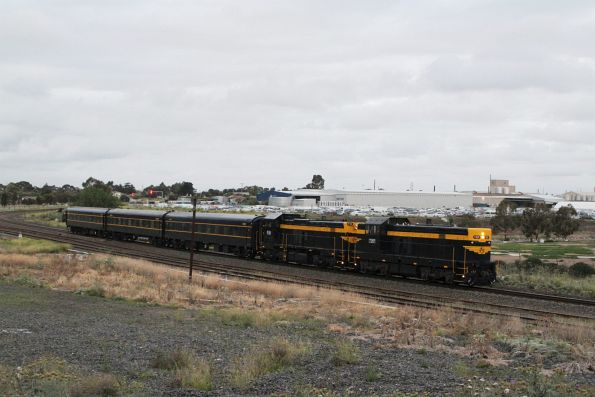 T357 leads a VR liveried P22 on the up at Albion