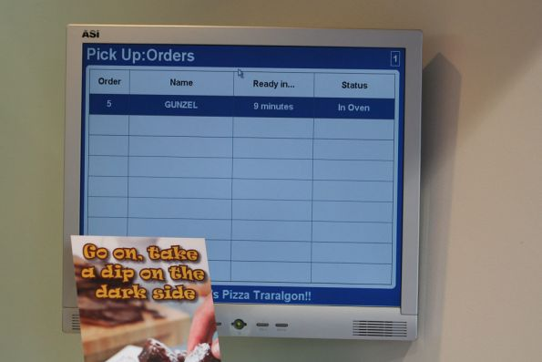 Our Domino's Pizza take-away order at Traralgon station - under the name 'Gunzel'
