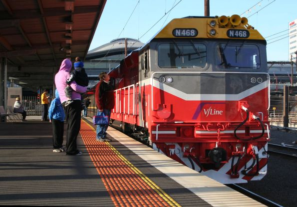 It's on for young and old - N468 at Southern Cross before the SRHC trip to Ballarat