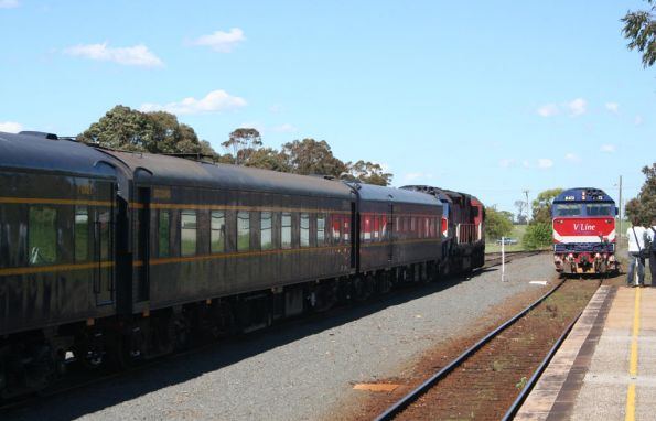 The down midway Warrnambool crossing the train at Camperdown