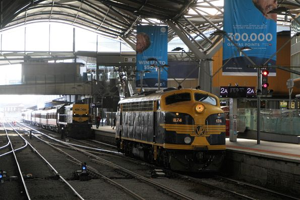 B74 shunts off the train on arrival at Southern Cross