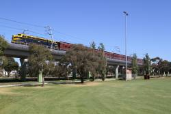 B74 leads the down shuttle towards Noble Park station