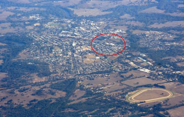 Seymour from the air, the Seymour Railway Heritage Centre is circled