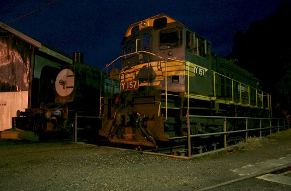 Y157 stored beside the turntable at Seymour, K class alongside