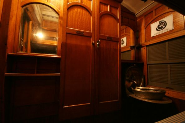 Washbasin and wardrobes in sleeping car 'Acheron'