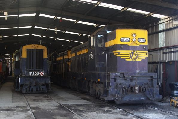 T357, T378 and F202 stabled in the workshop shed