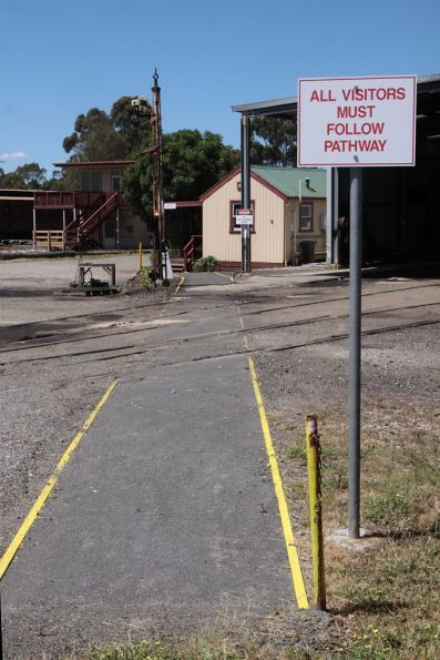 'All visitors must follow pathway' from the main gate for the SRHC depot