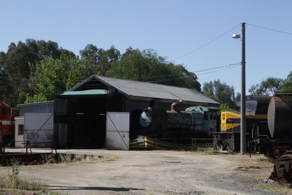 C501 stabled beside the turntable at Seymour