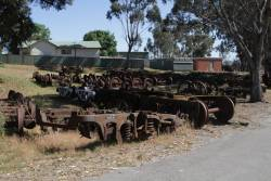 Collection of old bogies stored beside the Seymour turntable