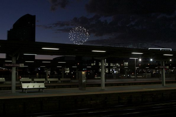 Looking across the platform at Southern Cross at the 9pm fireworks at Docklands